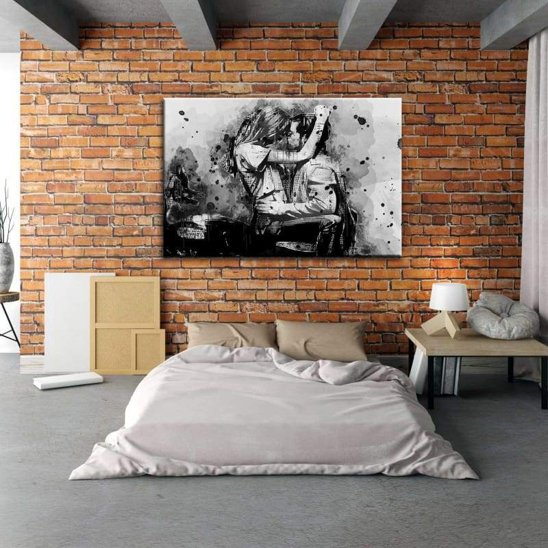 Motorcycle Kiss Couples Love Ink Art - Framed Canvas Painting Wall Art Office Decor, large modern pop artwork for home or office, Entrepreneur Inspirational and motivational Quotes on Canvas great for man cave or home. Perfect for Artwork Addicts. Made in USA, FREE Shipping.