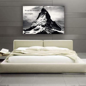 Mountain Conquer - Framed Canvas Painting Wall Art Office Decor, large modern pop artwork for home or office, Entrepreneur Inspirational and motivational Quotes on Canvas great for man cave or home. Perfect for Artwork Addicts. Made in USA, FREE Shipping.
