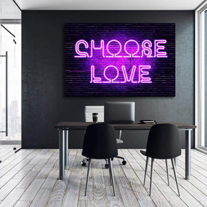 Neon Choose Love - Framed Canvas Painting Wall Art Office Decor, large modern pop artwork for home or office, Entrepreneur Inspirational and motivational Quotes on Canvas great for man cave or home. Perfect for Artwork Addicts. Made in USA, FREE Shipping.