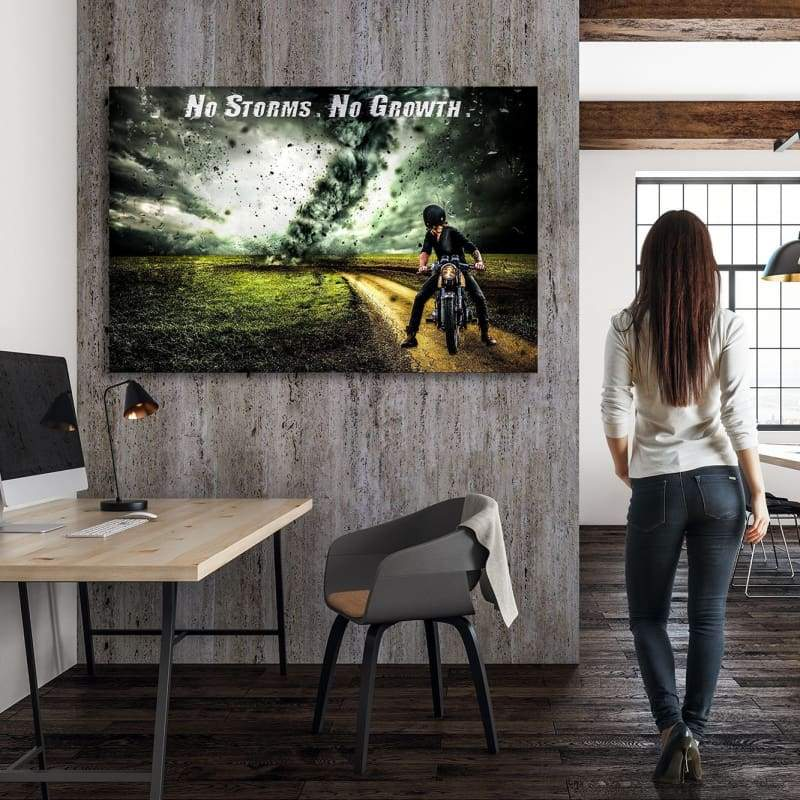 No Storms No Growth - Framed Canvas Painting Wall Art Office Decor, large modern pop artwork for home or office, Entrepreneur Inspirational and motivational Quotes on Canvas great for man cave or home. Perfect for Artwork Addicts. Made in USA, FREE Shipping.