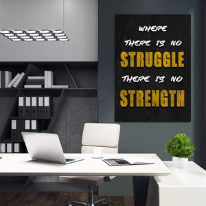 No Struggle - Framed Canvas Painting Wall Art Office Decor, large modern pop artwork for home or office, Entrepreneur Inspirational and motivational Quotes on Canvas great for man cave or home. Perfect for Artwork Addicts. Made in USA, FREE Shipping.