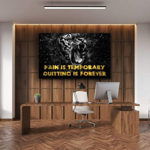 Pain is Temporary - Framed Canvas Painting Wall Art Office Decor, large modern pop artwork for home or office, Entrepreneur Inspirational and motivational Quotes on Canvas great for man cave or home. Perfect for Artwork Addicts. Made in USA, FREE Shipping.