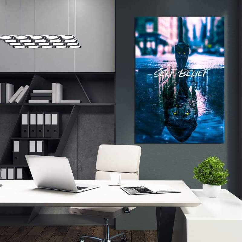 Panther Reflection Self-Belief - Framed Canvas Painting Wall Art Office Decor, large modern pop artwork for home or office, Entrepreneur Inspirational and motivational Quotes on Canvas great for man cave or home. Perfect for Artwork Addicts. Made in USA, FREE Shipping.