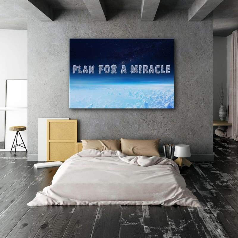 Plan For A Miracle - Framed Canvas Painting Wall Art Office Decor, large modern pop artwork for home or office, Entrepreneur Inspirational and motivational Quotes on Canvas great for man cave or home. Perfect for Artwork Addicts. Made in USA, FREE Shipping.