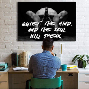 Quiet The Mind - Framed Canvas Painting Wall Art Office Decor, large modern pop artwork for home or office, Entrepreneur Inspirational and motivational Quotes on Canvas great for man cave or home. Perfect for Artwork Addicts. Made in USA, FREE Shipping.