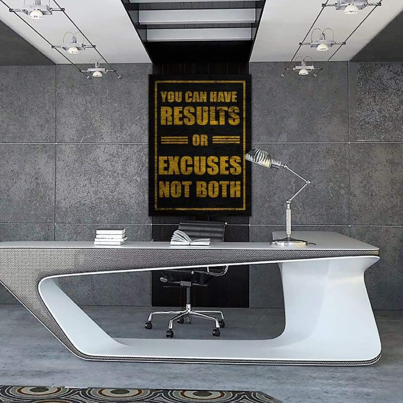 Results Or Excuses - Framed Canvas Painting Wall Art Office Decor, large modern pop artwork for home or office, Entrepreneur Inspirational and motivational Quotes on Canvas great for man cave or home. Perfect for Artwork Addicts. Made in USA, FREE Shipping.