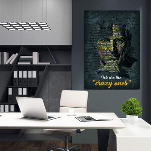 Steve Jobs - Framed Canvas Painting Wall Art Office Decor, large modern pop artwork for home or office, Entrepreneur Inspirational and motivational Quotes on Canvas great for man cave or home. Perfect for Artwork Addicts. Made in USA, FREE Shipping.