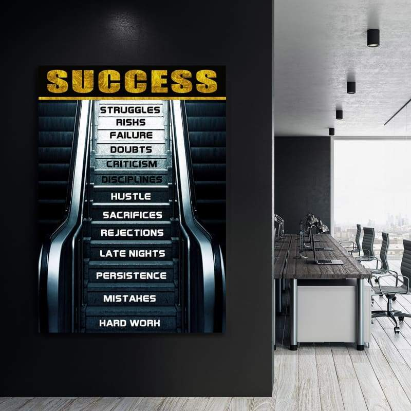 Success Steps - Framed Canvas Painting Wall Art Office Decor, large modern pop artwork for home or office, Entrepreneur Inspirational and motivational Quotes on Canvas great for man cave or home. Perfect for Artwork Addicts. Made in USA, FREE Shipping.