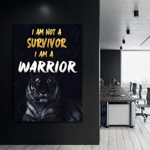 Survivor Warrior - Framed Canvas Painting Wall Art Office Decor, large modern pop artwork for home or office, Entrepreneur Inspirational and motivational Quotes on Canvas great for man cave or home. Perfect for Artwork Addicts. Made in USA, FREE Shipping.