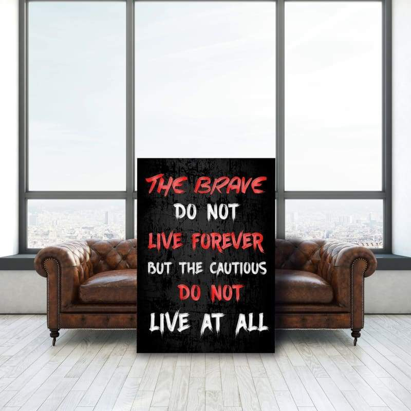 The Brave - Framed Canvas Painting Wall Art Office Decor, large modern pop artwork for home or office, Entrepreneur Inspirational and motivational Quotes on Canvas great for man cave or home. Perfect for Artwork Addicts. Made in USA, FREE Shipping.