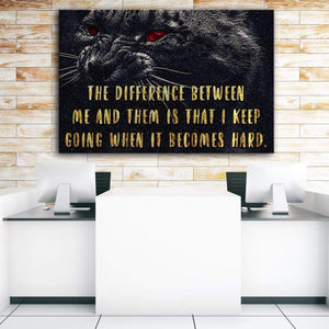 The Difference - Framed Canvas Painting Wall Art Office Decor, large modern pop artwork for home or office, Entrepreneur Inspirational and motivational Quotes on Canvas great for man cave or home. Perfect for Artwork Addicts. Made in USA, FREE Shipping.