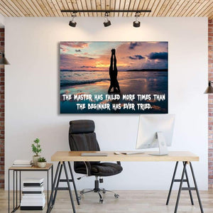 The Master - Framed Canvas Painting Wall Art Office Decor, large modern pop artwork for home or office, Entrepreneur Inspirational and motivational Quotes on Canvas great for man cave or home. Perfect for Artwork Addicts. Made in USA, FREE Shipping.