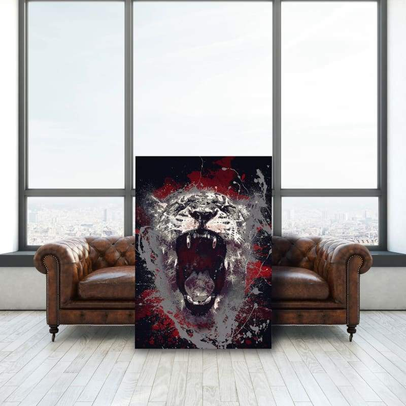 Tiger Roar Paint Splatter - Framed Canvas Painting Wall Art Office Decor, large modern pop artwork for home or office, Entrepreneur Inspirational and motivational Quotes on Canvas great for man cave or home. Perfect for Artwork Addicts. Made in USA, FREE Shipping.