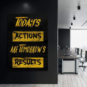Today's Actions - Framed Canvas Painting Wall Art Office Decor, large modern pop artwork for home or office, Entrepreneur Inspirational and motivational Quotes on Canvas great for man cave or home. Perfect for Artwork Addicts. Made in USA, FREE Shipping.