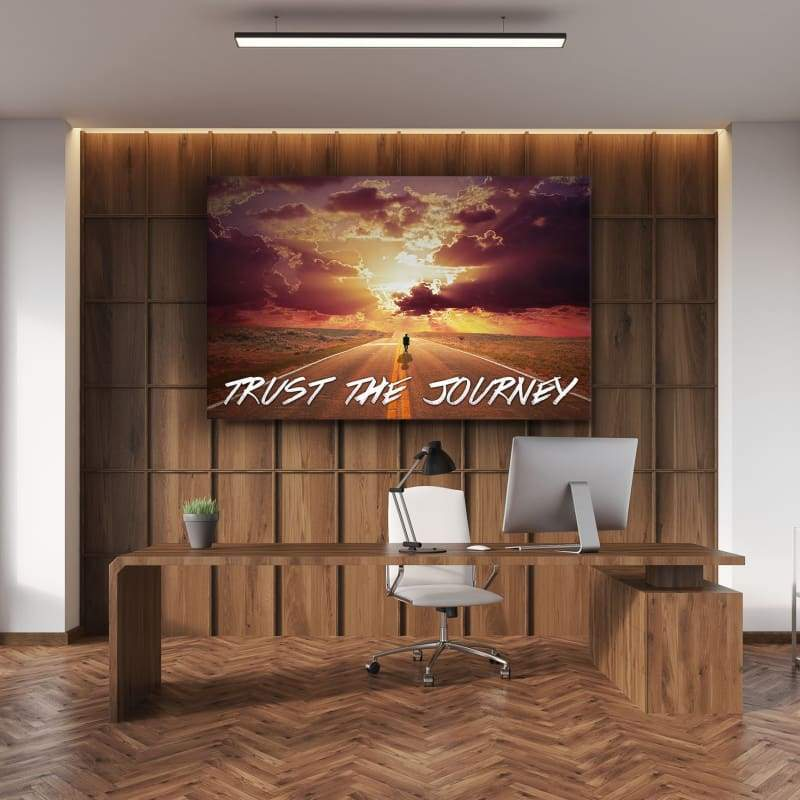 Trust The Journey - Framed Canvas Painting Wall Art Office Decor, large modern pop artwork for home or office, Entrepreneur Inspirational and motivational Quotes on Canvas great for man cave or home. Perfect for Artwork Addicts. Made in USA, FREE Shipping.