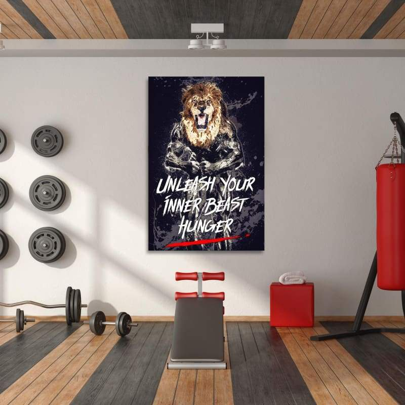 Unleash Inner Beast - Framed Canvas Painting Wall Art Office Decor, large modern pop artwork for home or office, Entrepreneur Inspirational and motivational Quotes on Canvas great for man cave or home. Perfect for Artwork Addicts. Made in USA, FREE Shipping.