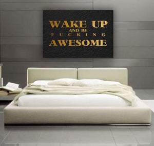 Wake Up - Framed Canvas Painting Wall Art Office Decor, large modern pop artwork for home or office, Entrepreneur Inspirational and motivational Quotes on Canvas great for man cave or home. Perfect for Artwork Addicts. Made in USA, FREE Shipping.