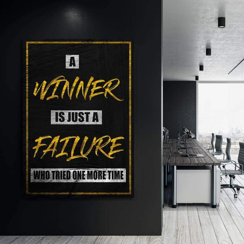 Winner - Framed Canvas Painting Wall Art Office Decor, large modern pop artwork for home or office, Entrepreneur Inspirational and motivational Quotes on Canvas great for man cave or home. Perfect for Artwork Addicts. Made in USA, FREE Shipping.