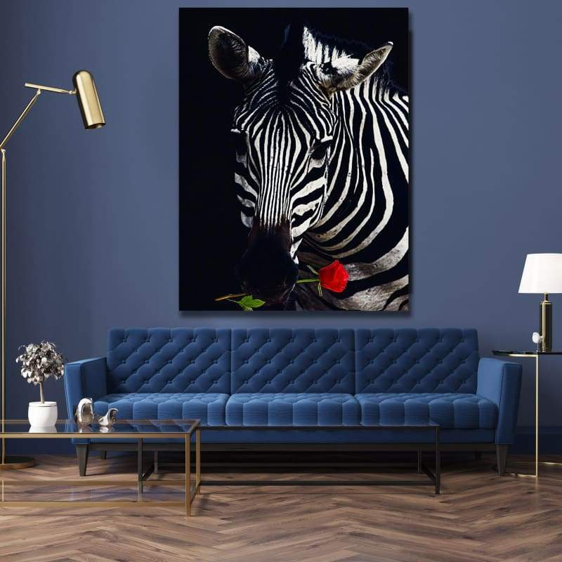 Zebra Rose - Framed Canvas Painting Wall Art Office Decor, large modern pop artwork for home or office, Entrepreneur Inspirational and motivational Quotes on Canvas great for man cave or home. Perfect for Artwork Addicts. Made in USA, FREE Shipping.