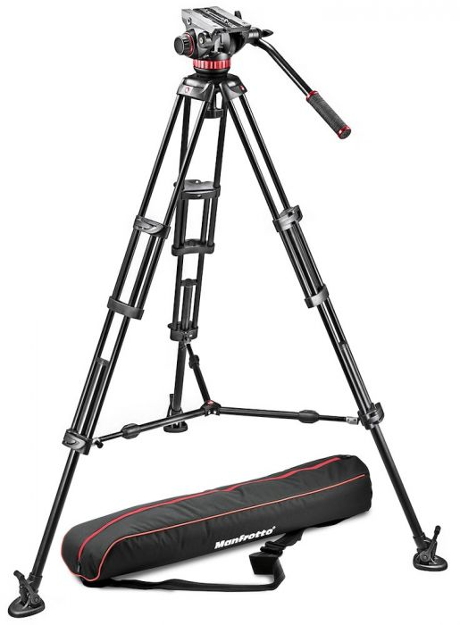 Manfrotto Alu Doppelrohr Videostativ mit Fluid-Video-Neiger - Kampro-Shop
