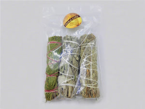 Cedar, White and Blue Sage Sampler Pack - 3 pieces 4""