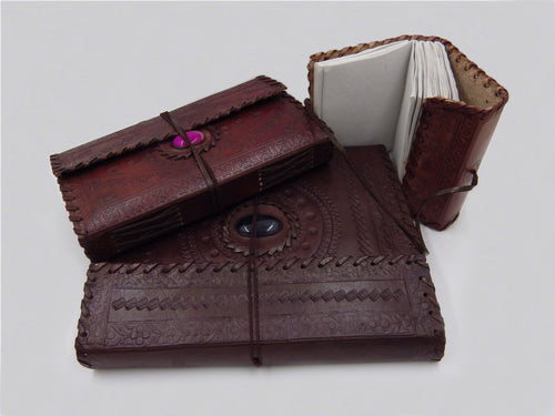 Stone Adorned Leather Journals