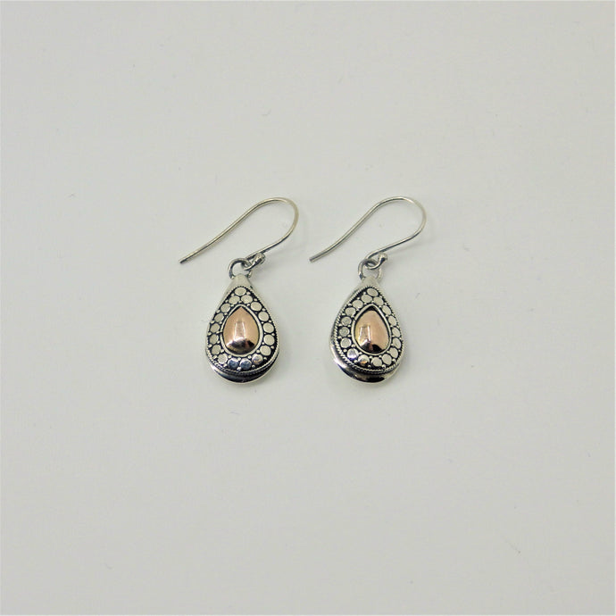 Silver Earrings - Rose Gold Details