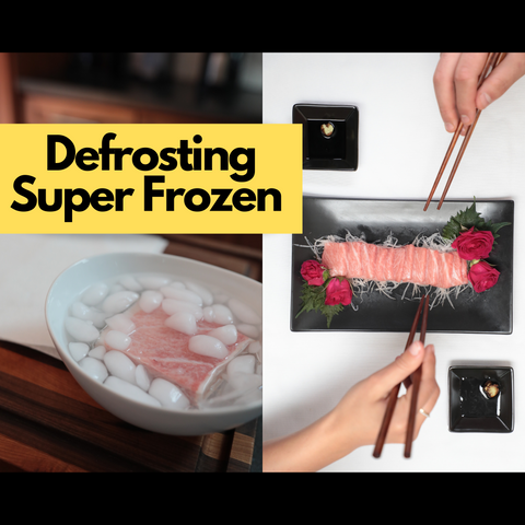 Defrosting super frozen tuna and other products