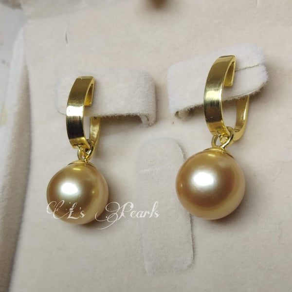 11mm Golden South Sea Pearls 14k Gold Dangling Earrings