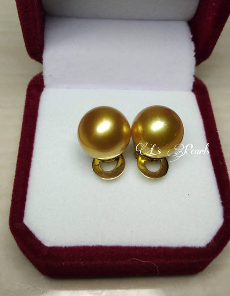 12mm Golden South Sea Pearls Earrings