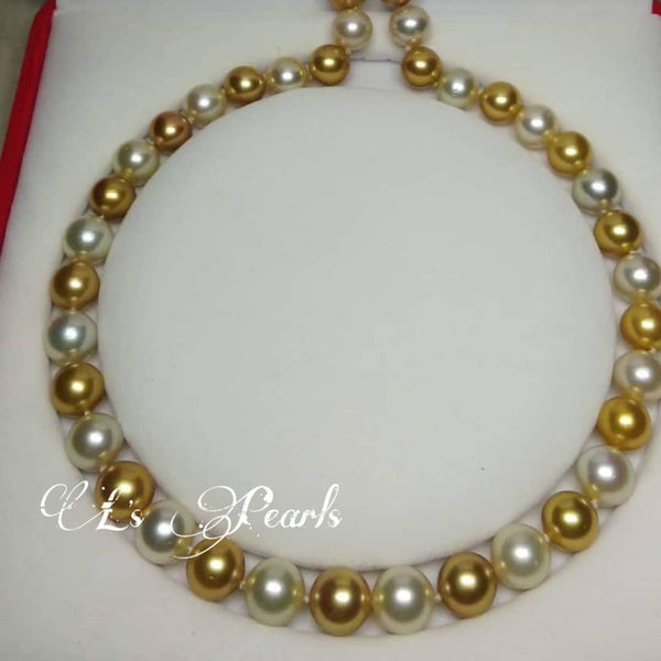 12mm to 13mm Golden and White South Sea Pearls Choker