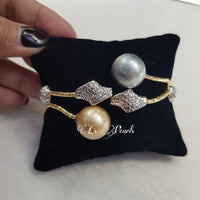 13mm South Sea Pearls  14k Gold Bangle