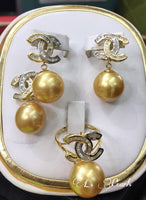 13mm Golden South Sea Pearls in 14k Gold Settings with Real Diamonds