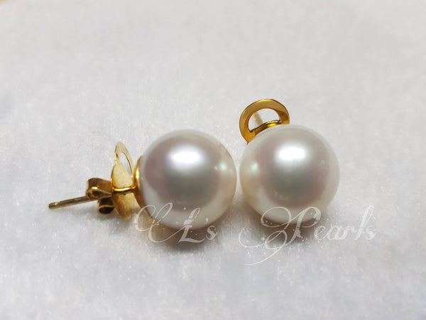 13mm Pinkish White South Sea Pearls  Earrings