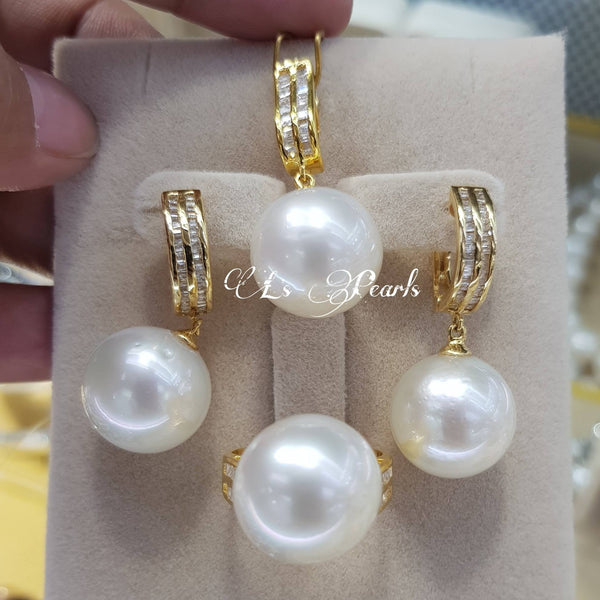 13mm White South Sea Pearls in 14k Gold Settings with Diamonds
