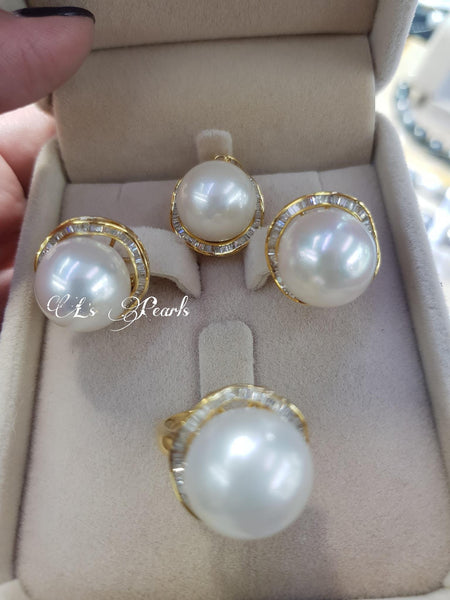 13mm White South Sea Pearls in 14k Gold Settings with Real Diamonds