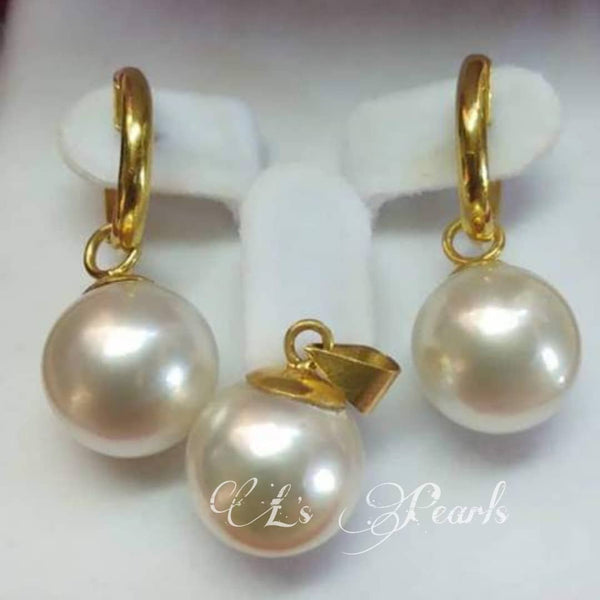 13mm White South Sea Pearls Set in 14k Gold Settings
