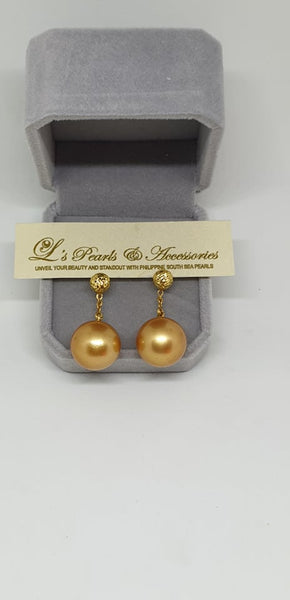 13mm Golden South Sea Pearls Earrings