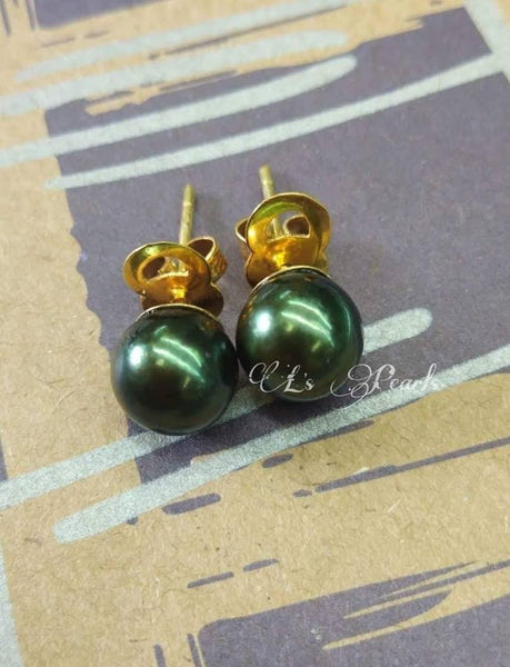 8mm Peacock Green South Sea Pearls  Earrings