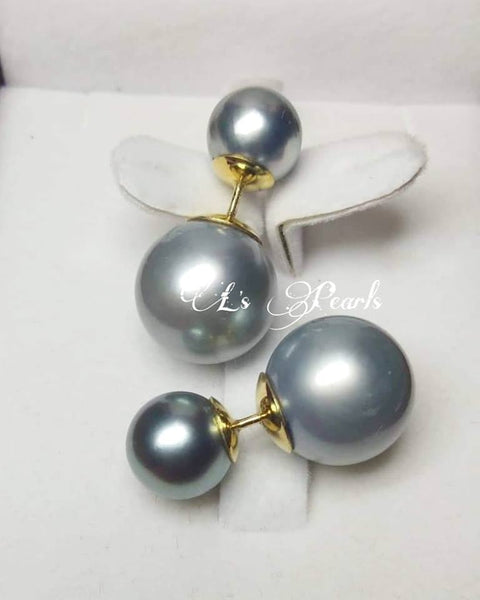 8/14mm Gray  South Sea Pearls Trendy Earrings
