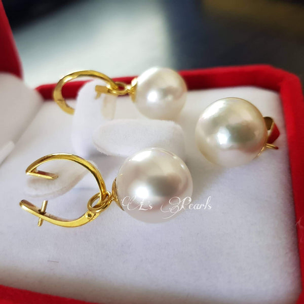 12mm  White South Sea Pearls Set in 14k Gold Dangling Earrings Set