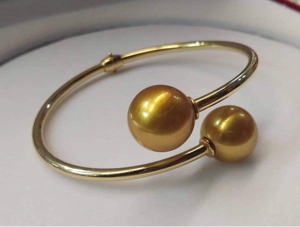 13mm Golden South Sea Pearls  14k Gold Bangle