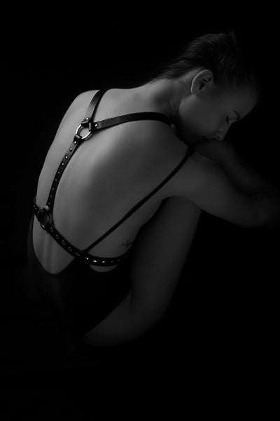Double Trouble with Rivets Leather Body Harness