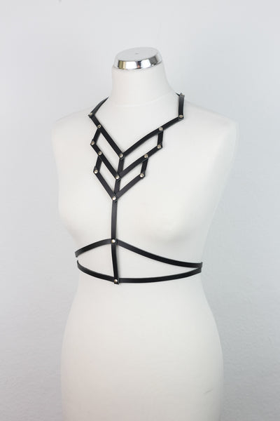 Geometric Leather Body Harness