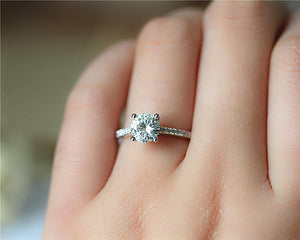 1CT Round Moissanite Ring White gold Ring For Women Engagement Rings