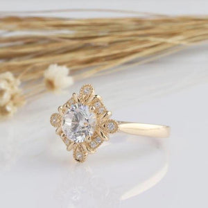 1.25CT Round Moissanite Engagement Ring Yellow gold Ring For Women