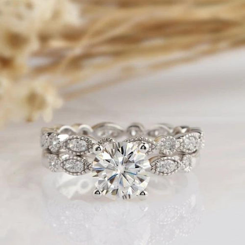 1.0CT Round Engagement Ring Moissanite Ring Moissanite Ring Bridal Sets in Gold