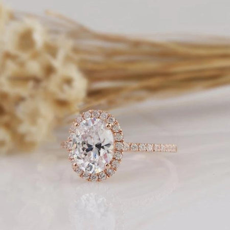 2.1CT Oval Moissanite Ring Rose gold Ring For Women