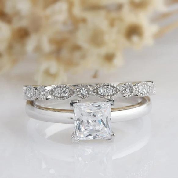 1CT Princess Cut Simulated Diamond Wedding Sets White Gold Ring
