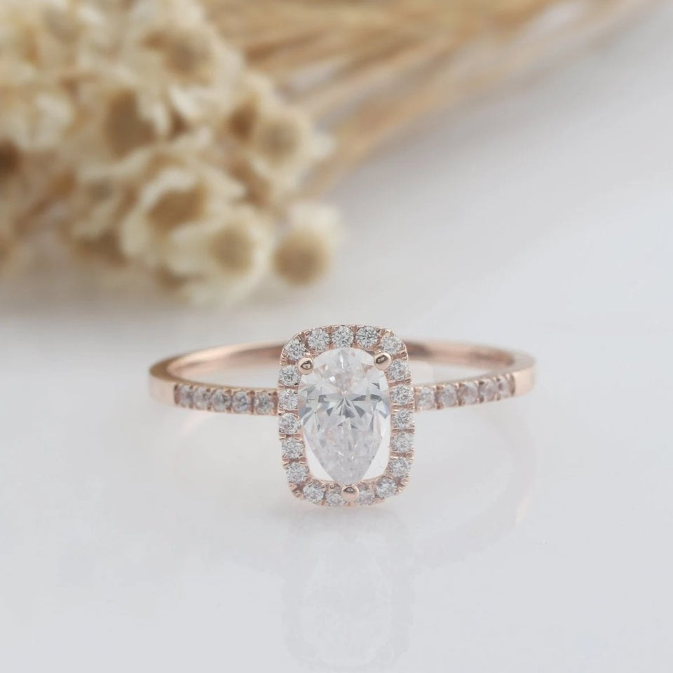1CT Pear Cut Moissanite Engagement Ring Rose Gold Ring